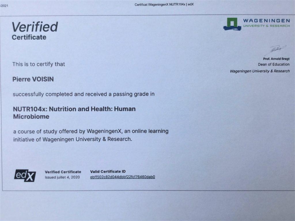 Certificat Wageningen Human microbiome Pierre Voisin