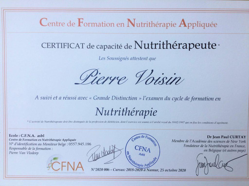 Certificat nutritherapeute CFNA Pierre Voisin